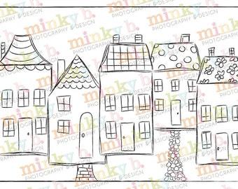 "INSTANT DOWNLOAD Digital Stamp ""Rainbow Row"" by Minky B Designs"