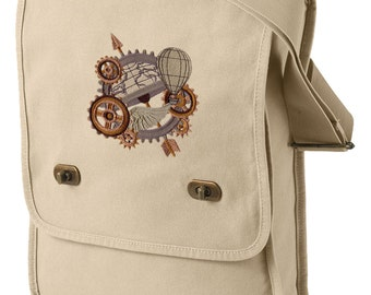 Around the Globe Steampunk Canvas Embroidered Field Bag