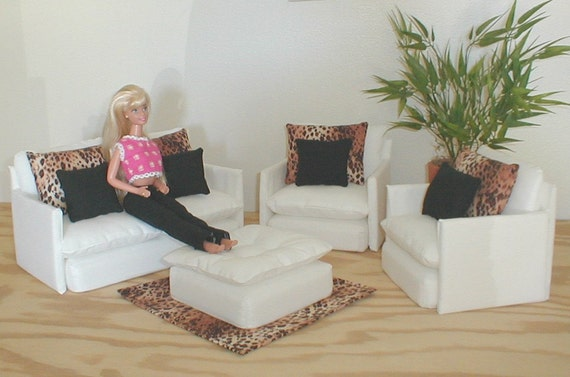 Barbie Doll Furniture Living Room Set White By Barbiedollfurniture