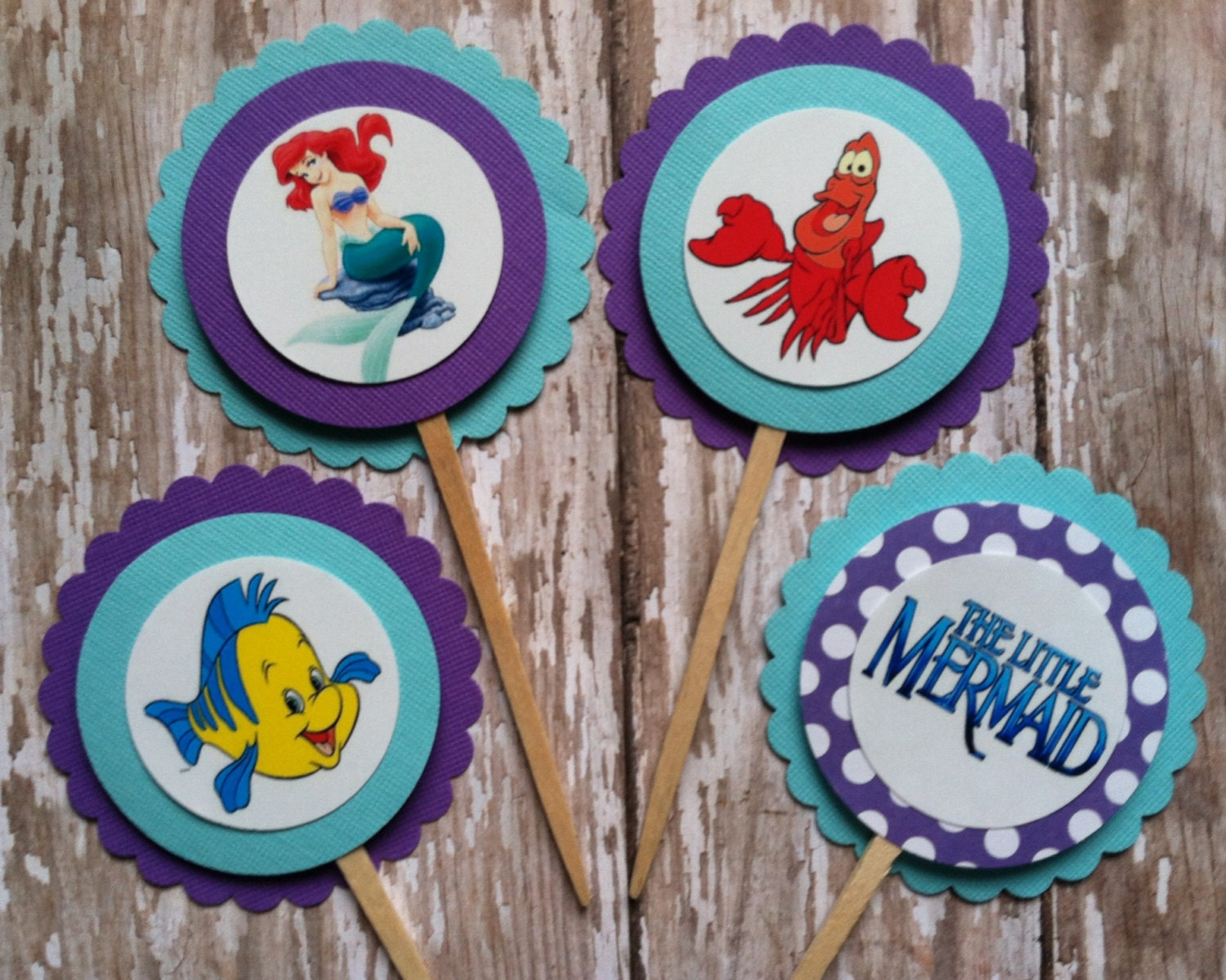 Little Mermaid Cupcake Toppers Amscan Enchanting Disney