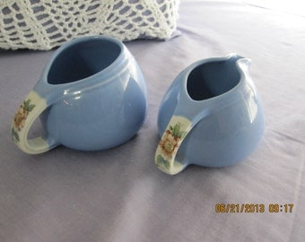 VINTAGE Sugar and Creamer set by Hall in Rose Parade pattern