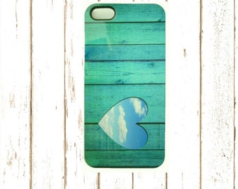 Aqua Heart Cell Phone Case,  Iphone 4/4s, 5/5S and Iphone 6/6S Case,  Unique I 4/4S Cell Phone Case,  Gifts under 25.00