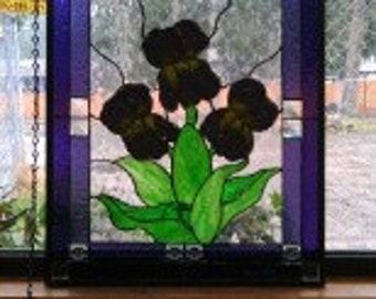Violas Fused Glass in Stained Glass Panel - MADE TO ORDER