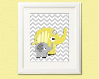 Yellow and grey elephant nursery Art Print - 8x10 - Children wall art, Baby Room Decor, nursery art -  UNFRAMED