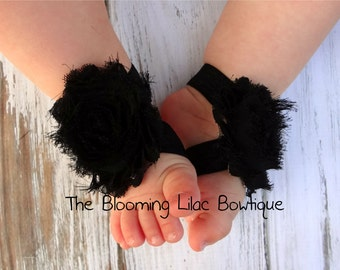 BLACK Baby Barefoot Sandals - Newborn Sandals - Baby Clothing - Newborn Clothing - Baby Girls - Photography Prop