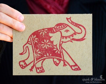Greeting Card - Rajasthani Elephant - hand block printed on natural paper with red ink