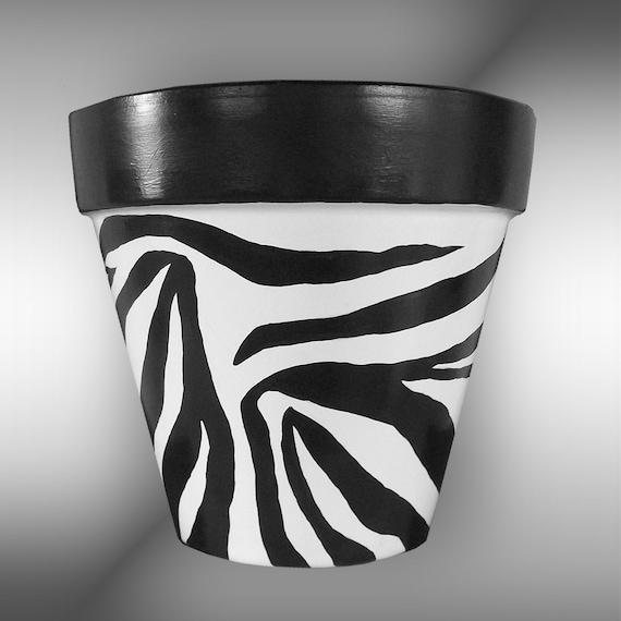 Zebra Print Hand Painted Flower Pot Original