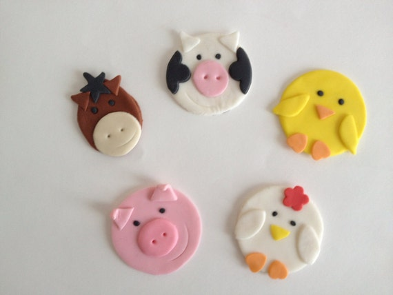 12 edible fondant farm animals cupcake toppers for Animal cake decoration