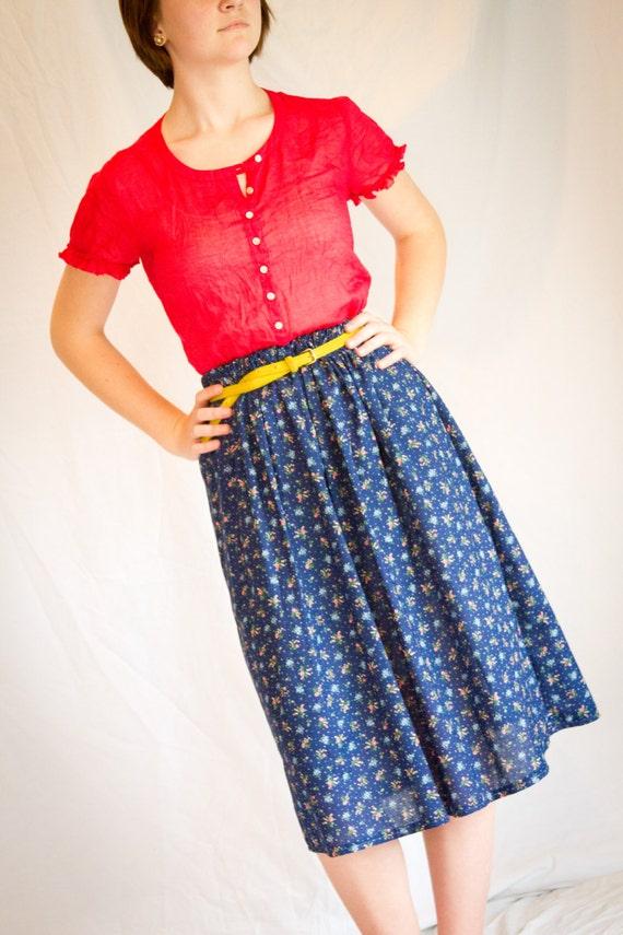 navy blue fower pattern high waisted skirt