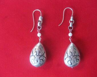 Pair of Sterling Silver Filigree Earrings