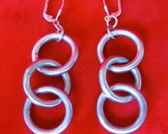 Pair of Sterling Silver Ring Earrings