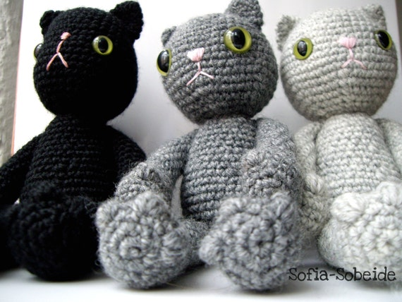 Amigurumi cat pattern crocheted soft toy plush pattern diy