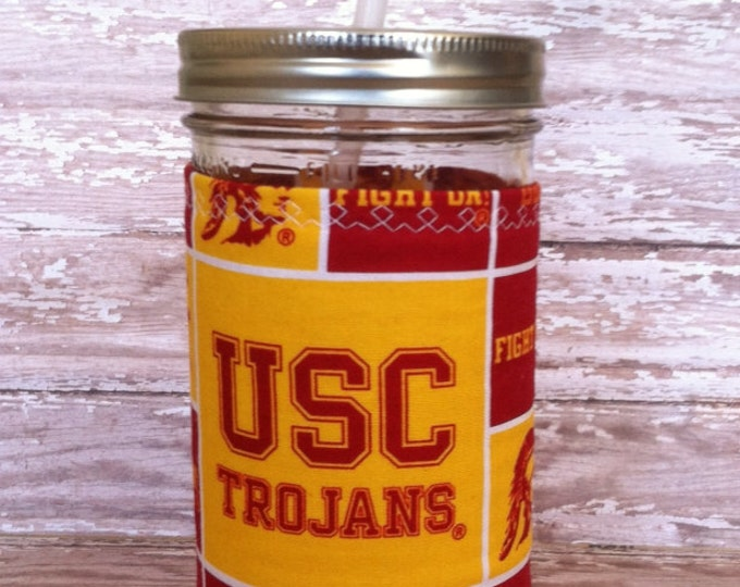 Mason Jar Tumbler 24oz University of Southern California USC BPA Free Swirl Straw - Travel Mug Great Gift