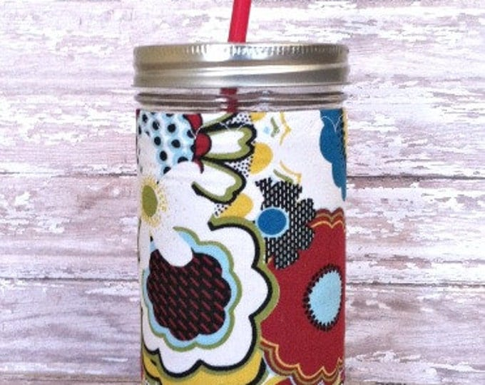 Mason Jar Cup 24 oz Retro Flowers Red Yellow and Blue Insulated Cozy BPA Free Swirl Straw - Travel Mug Great Gift