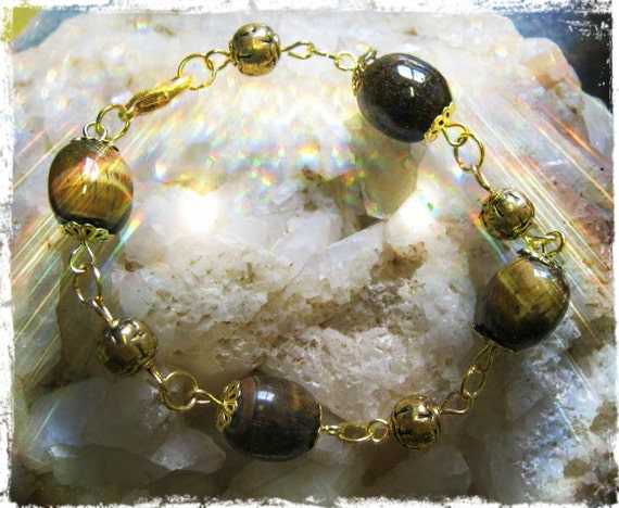 Handmade Gold Bracelet with Tigers Eye by IreneDesign2011