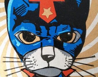 Super Cat Linocut