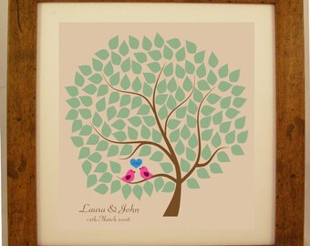 Personalised Wedding / Anniversary / Engagement Love Birds Sitting in a Tree Word Art Gift