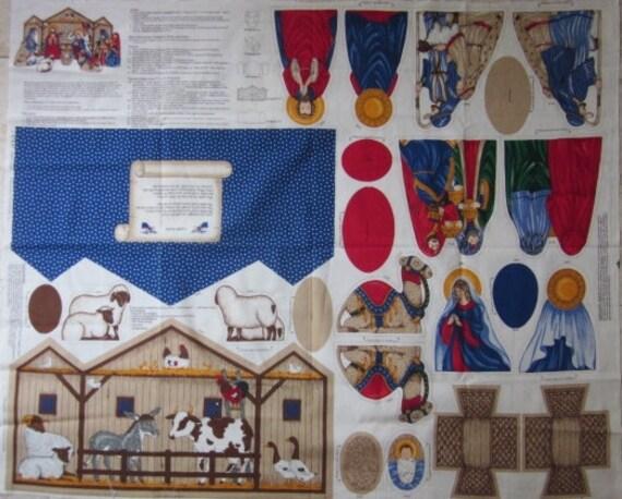 Vintage Fabric Panel Christmas Nativity