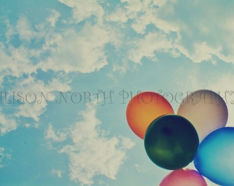 Digital Photography Download Fine Art Photo Full Colour Vintage Style Balloons And Blue Sky Nursery Childrens Wall Art Home Decor