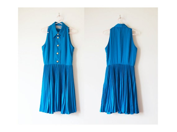 Vintage Japanese 1980s Ocean Blue Sleeveless Pleated dress with Gold buttons