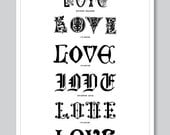 Love, typography digital print, quote, gift for her, for him, vintage, graphic, valentine day, wedding gift, wall art decor, A3, by Vinspiro - Vinspiro
