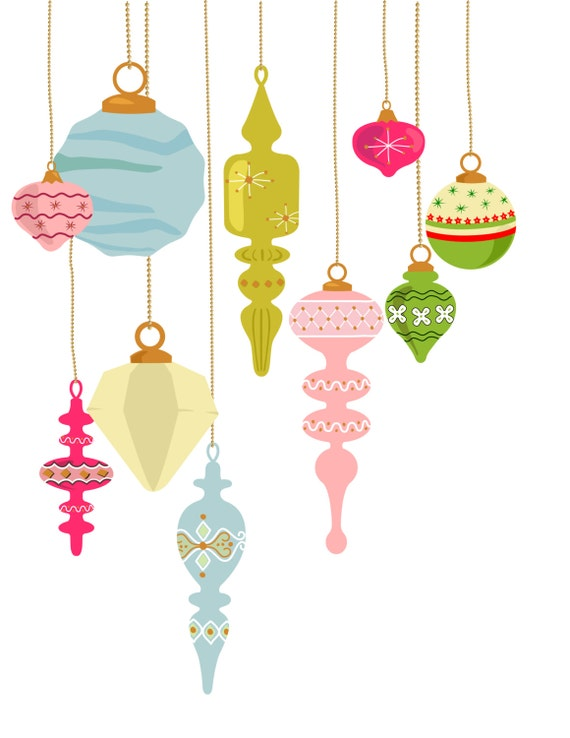 10 vintage Christmas ornament clip art Xmas decoration