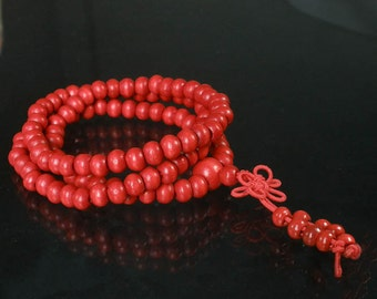Tibetan Red Wood 108 Beads Buddhist Buddhism Buddha Prayer Stretchy Mala Bracelet DI1001