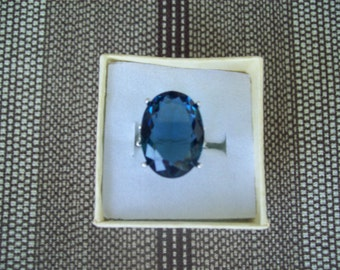 Created London Blue Topaz Ring Sterling Silver - 18x13 mm