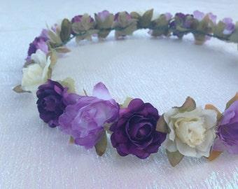 MISAKI (V) Purple Lavender and Cream Floral Headband