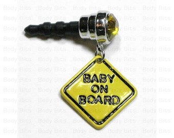 Cute BABY ON BOARD Yellow Gem Anti Dust Plug Phone Charm for Cell Mobile iPhone Android Galaxy Tablet iPod Ereader