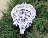 Hot Air Balloon Ornament, Machine Embroidered Lace, White, Gold, Any Color Decoration