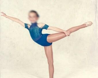 Acrobatic dance costume blue with rainbow polka dots jazz lyrical