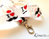 PIF Pay it Forward I Heart Mustache Lanyard for id badge keys pop culture teachers comic con disney cruise