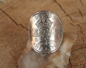 Authentic 1900's  SCOTTISH THISTLE  2 Shilling British Coin Ring with .925 Sterling Band  .