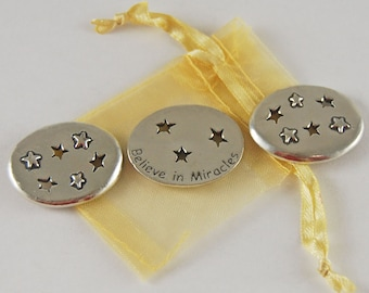 Set of 3 Stars Believe in Miracles Inspiration Coins with Organza Bag