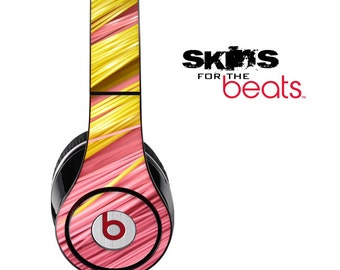 Slanted Pink And Yellow Strawed Skin for the Beats by Dre Studio, Solo, MIXR, Pro or Wireless Version Headphones