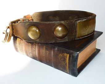 Antique Leather and Brass Dog Collar  'Pat' with padlock