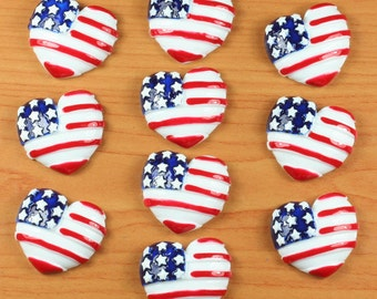 10pcs  American Flag Hearts Stars US Independant Day Patriotic Resin Cabochon Flatbacks Flat Back Hair Bow Center Crafts DIY