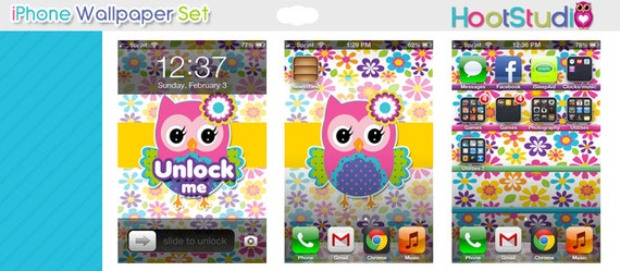 Items similar to Cute Owl iPhone 4 Wallpaper Set 2 on Etsy