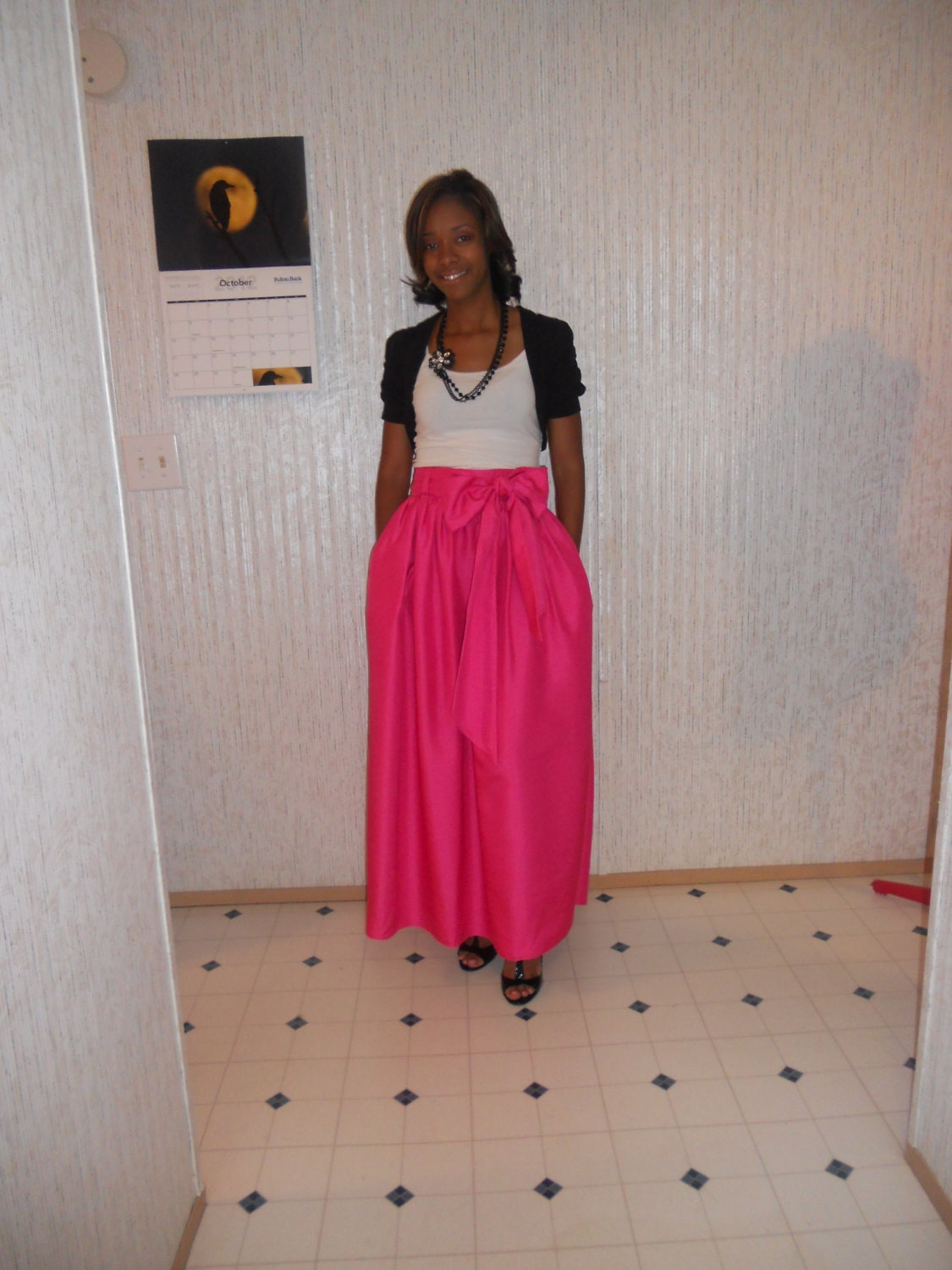 Classy Maxi Skirt with Bow Sash Custom Made