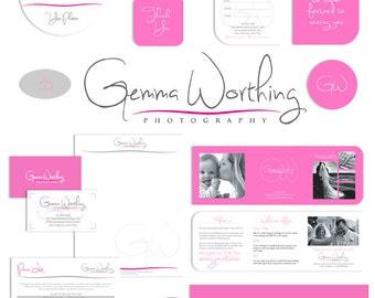 Photography Marketing set photography branding kit pink editable psd templates