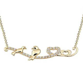 Lovebirds 14 k Solid Gold Necklace with detailed Zirconia