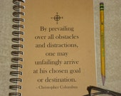 By Prevailing Over All Obstacles And Distractions ..Christopher Columbus - 2014 - 2015 18 Month  Calendar / PLANNER /AGENDA /JOURNAL / Quote