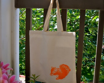 Orange Squirrel Print CottonTote