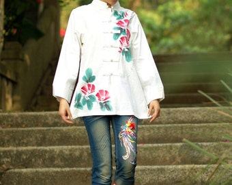 Hand Painted White Blouse Long Sleeve Shirt Red Flower Green Leaf Summer