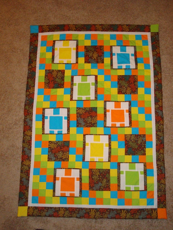 Robot quilt for kids for Robot quilt fabric