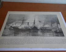 CIVIL WAR Print Capture of the U.S. steamer Harriet Lane Galveston, Texas