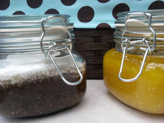 Eco Gift Body Scrub in a Flip Lid Glass Jar Over 2 Pounds Choose Sugar Scrub or Salt Scrub Gift Lip Scrub included