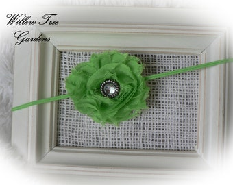 Lime Green Shabby Chic Baby Headband..Photo Prop..Frayed Rose Headband..Newborn/Infant/Toddler/Girl/Adult Headband
