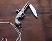 Silver Flintlock Pistol Gun Pocket Knife Necklace